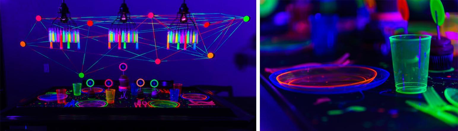 Décorer votre coin buffet en fluo avec vaisselle fluorescente, sticks lumineux, fil fluo